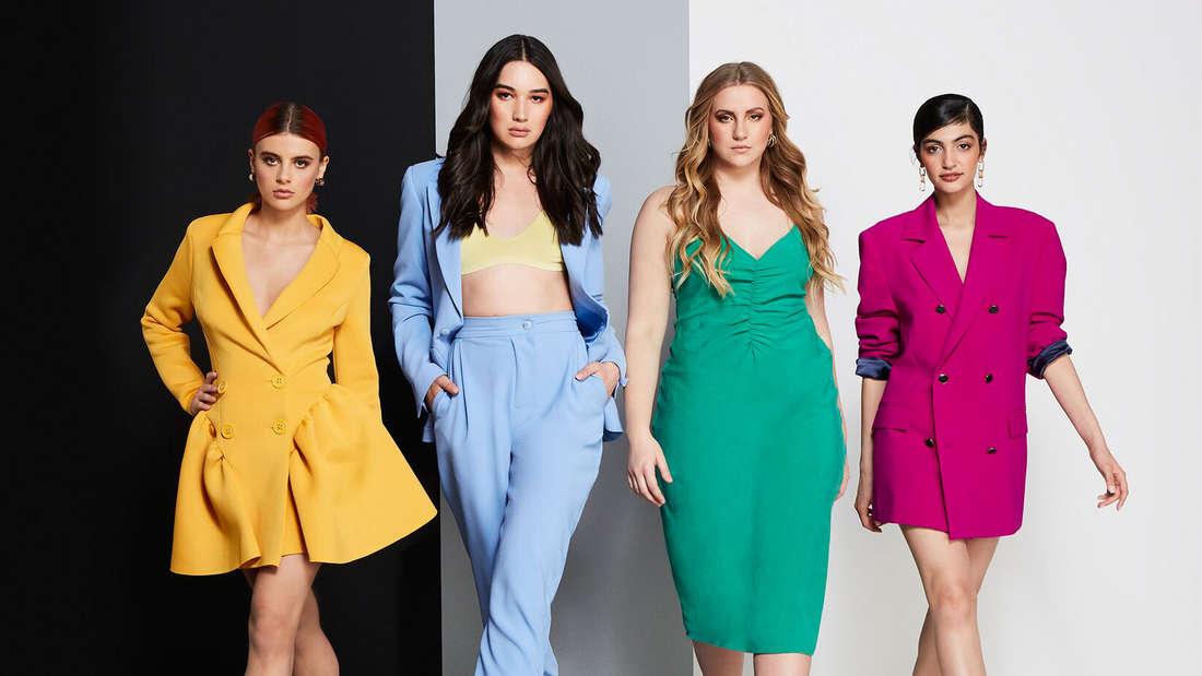 """Sie stehen im Finale von """"Germany's Next Topmodel"""": Romina, Alex, Dascha und Soulin (von links)."""