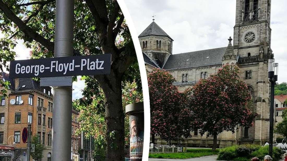"""Das Straßenschild am Erwin-Schoettle-Platz in Stuttgart wurde mit """"George-Floyd-Platz"""" überklebt."""