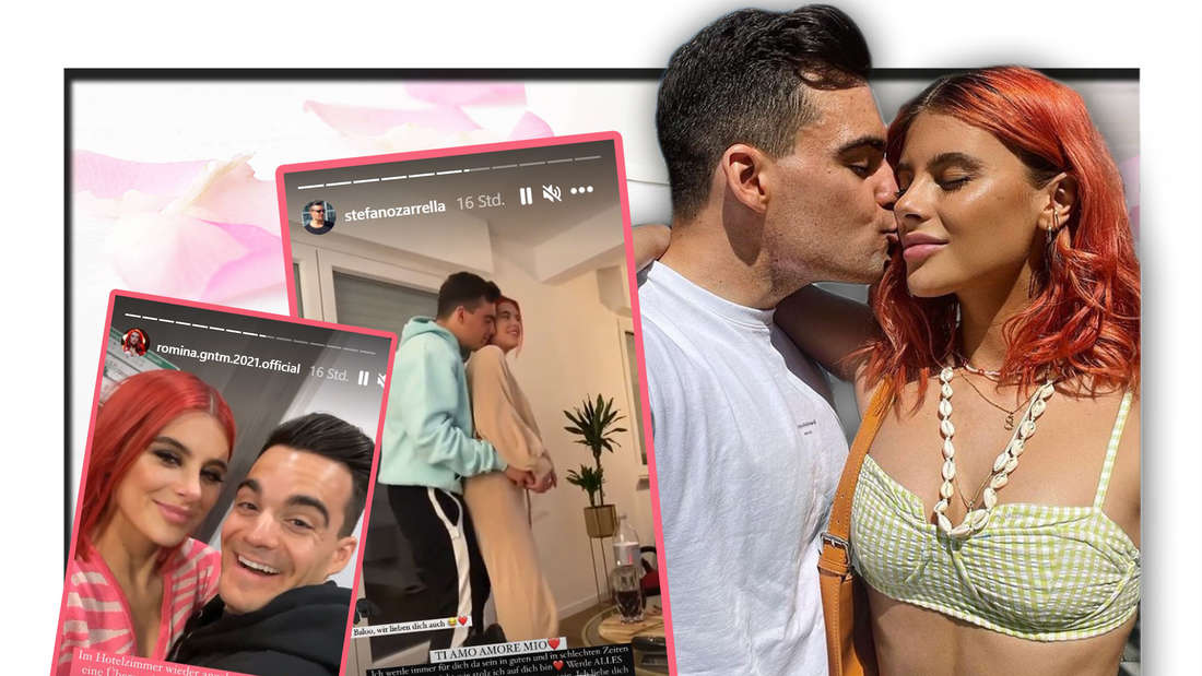 Fotomontage: Romina Palm und Stefano Zarrella mit Screenshot von ihren Instagram-Storys