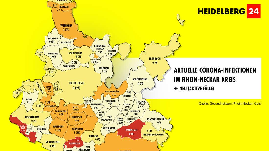 Die Neuinfektionen in den 54 Gemeinden im Rhein-Neckar-Kreis sowie die Zahl der aktiven Fälle.