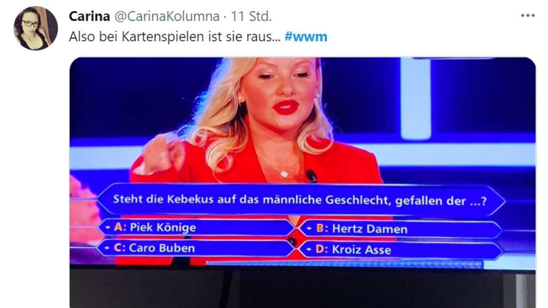 """Twitter Screenshot mit Bild von Evelyn Burdecki bei """"Wer Wird Millionär?"""""""