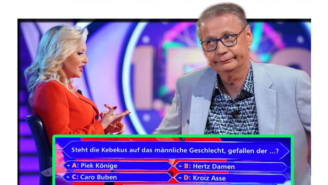"""Fotomontage: Evelyn Burdecki und Günther Jauch am Set von """"Wer wird Millionär?"""""""
