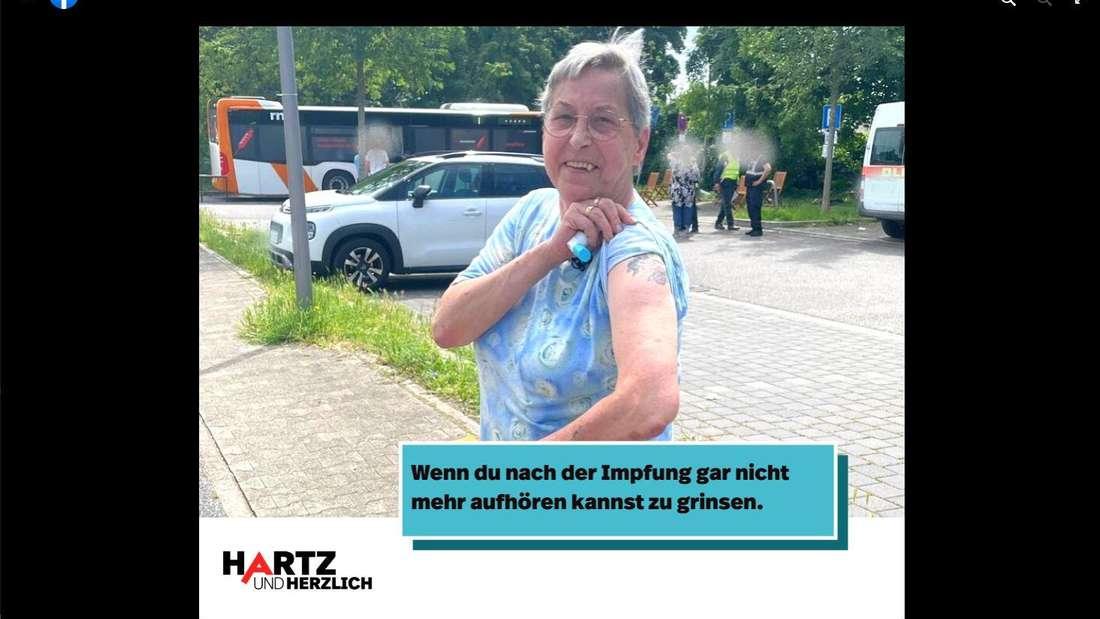 """""""Hartz und herzlich"""": Dagmar strahlt nach ihrer Corona-Impfung über das ganze Gesicht."""