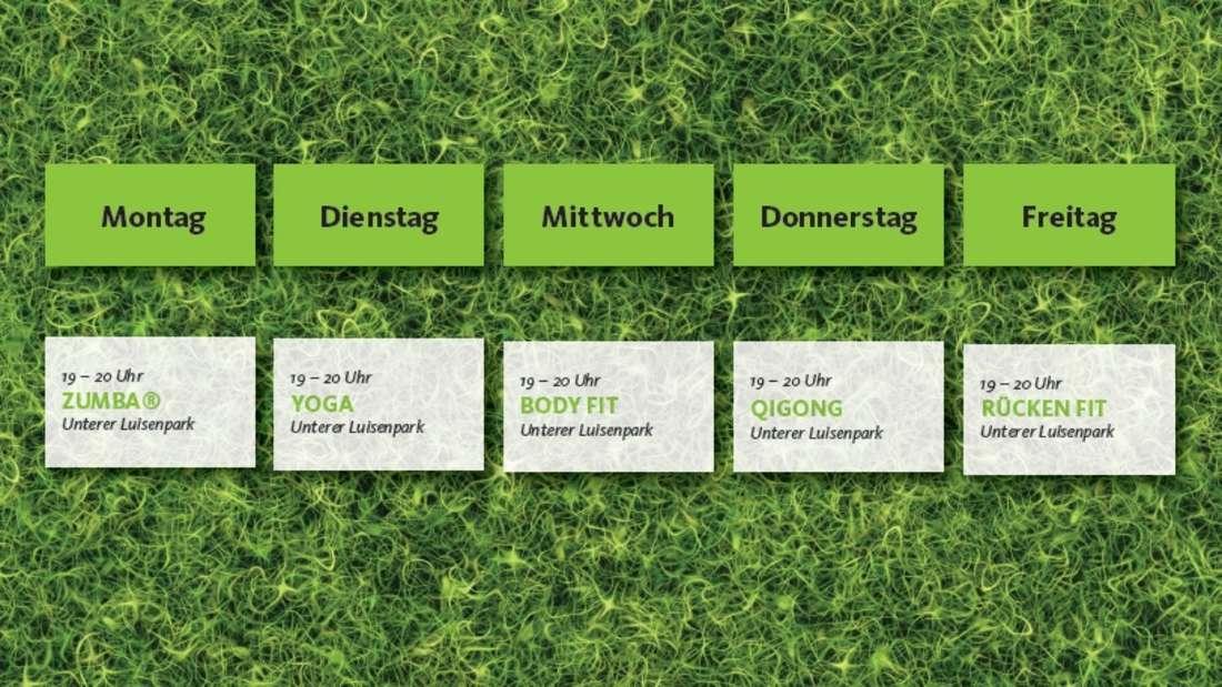 """Der """"Sport im Park 2021""""-Wochenplan."""