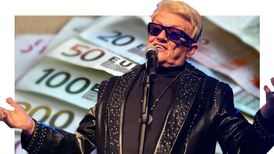 Heino vor etlichen Geldscheinen (Fotomontage)