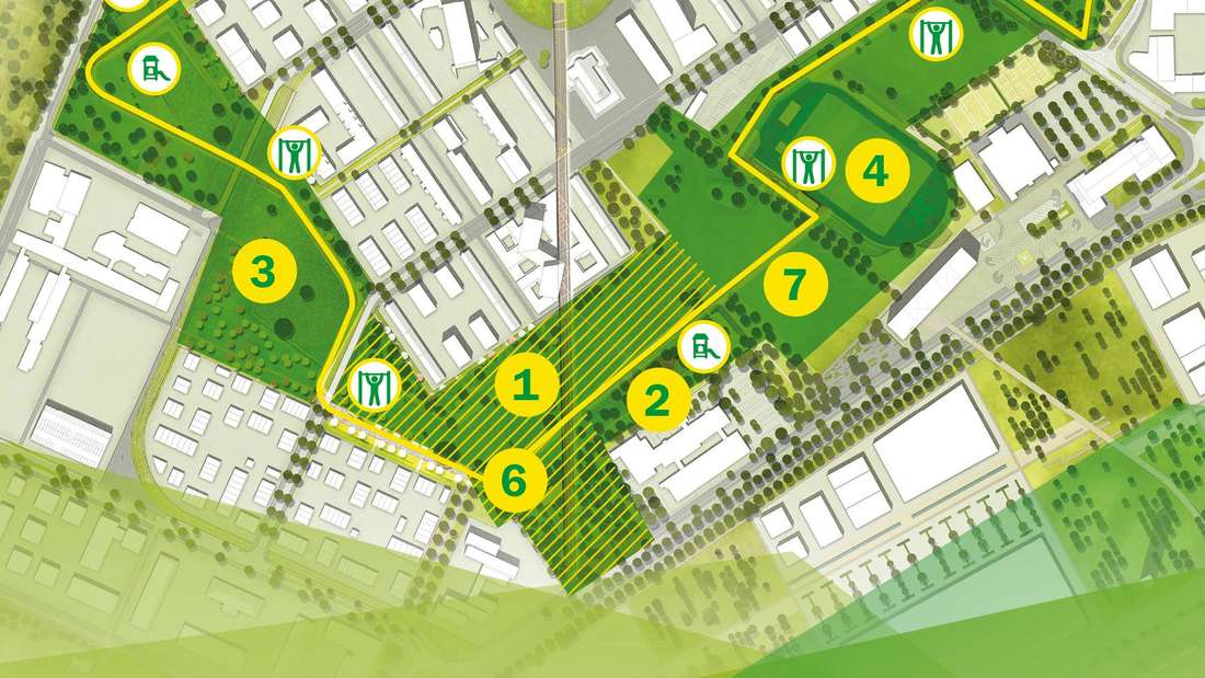 Die Karte zeigt die neuen Grünflächenabschnitte der FRANKLIN FIELDS
