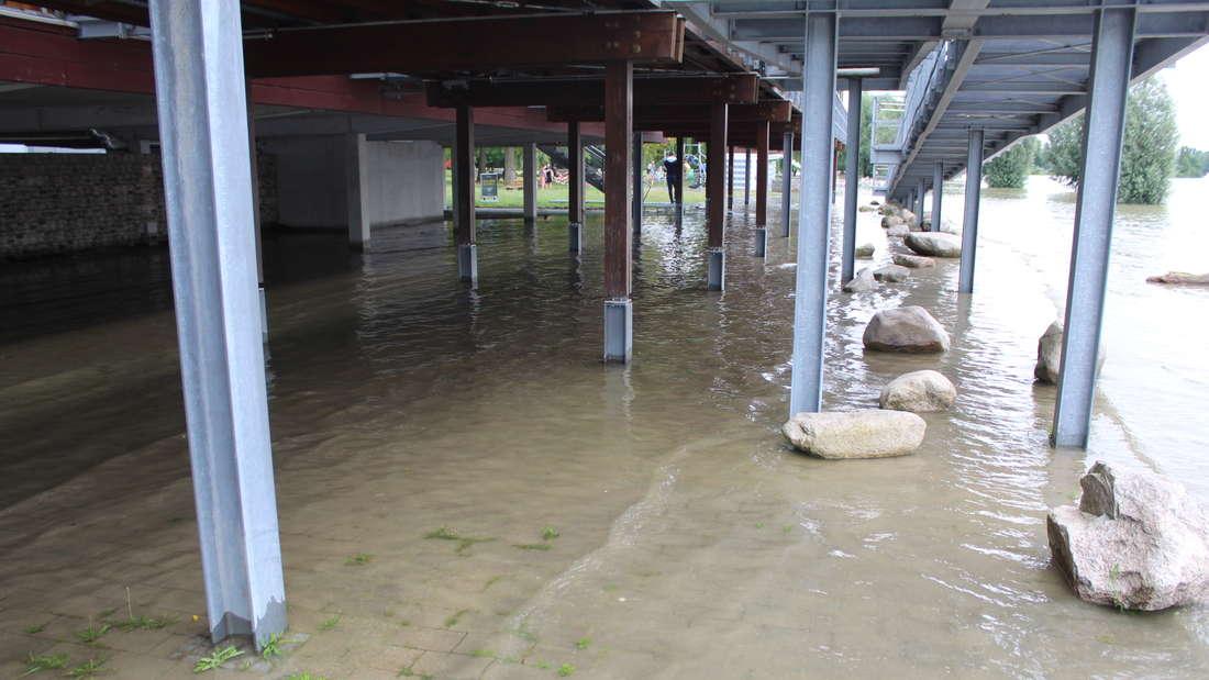 Rhein-Hochwasser auch am Strandbad in Mannheim-Neckarau.