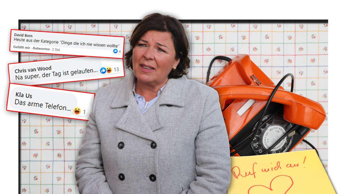 """Fernsehmoderatoren Vera Int-Veen (u.a. """"Schwiegertochter gesucht"""") steht neben einem Telefon und Facebook-Kommentaren (Fotomontage)"""