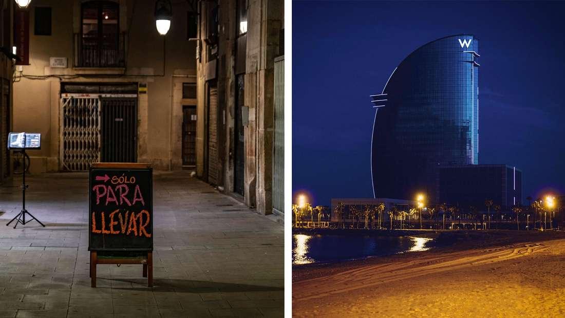 Abholen-Schild in menschenleerer Rambla und leerer Barceloneta Strand