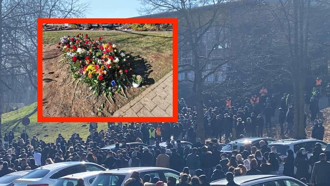 Trauerzug für den getöteten Sinan (†13) und sein Grabstein auf dem Sinsheimer Friedhof (Fotomontage)