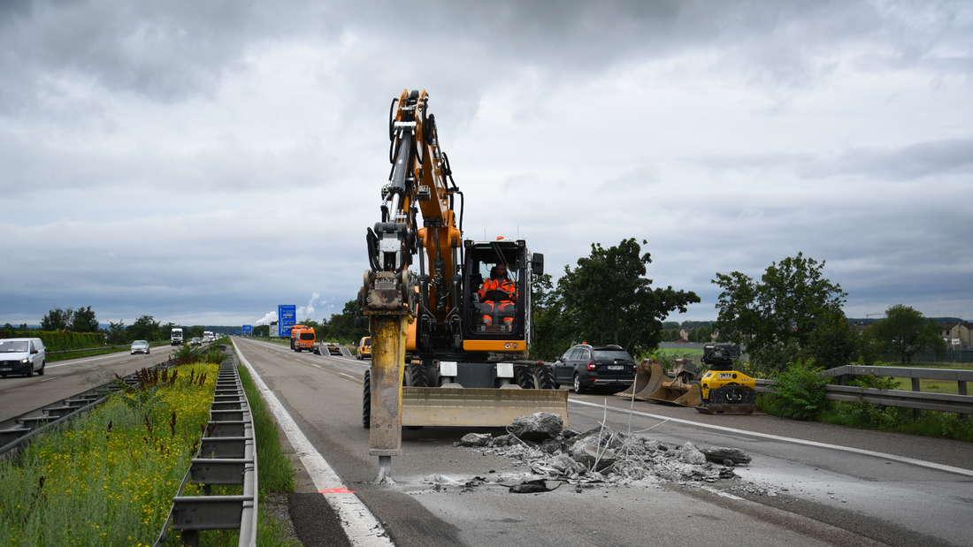 A6 bei Mannheim wegen Unterspülung seit Mittwoch (14. Juli) voll gesperrt.