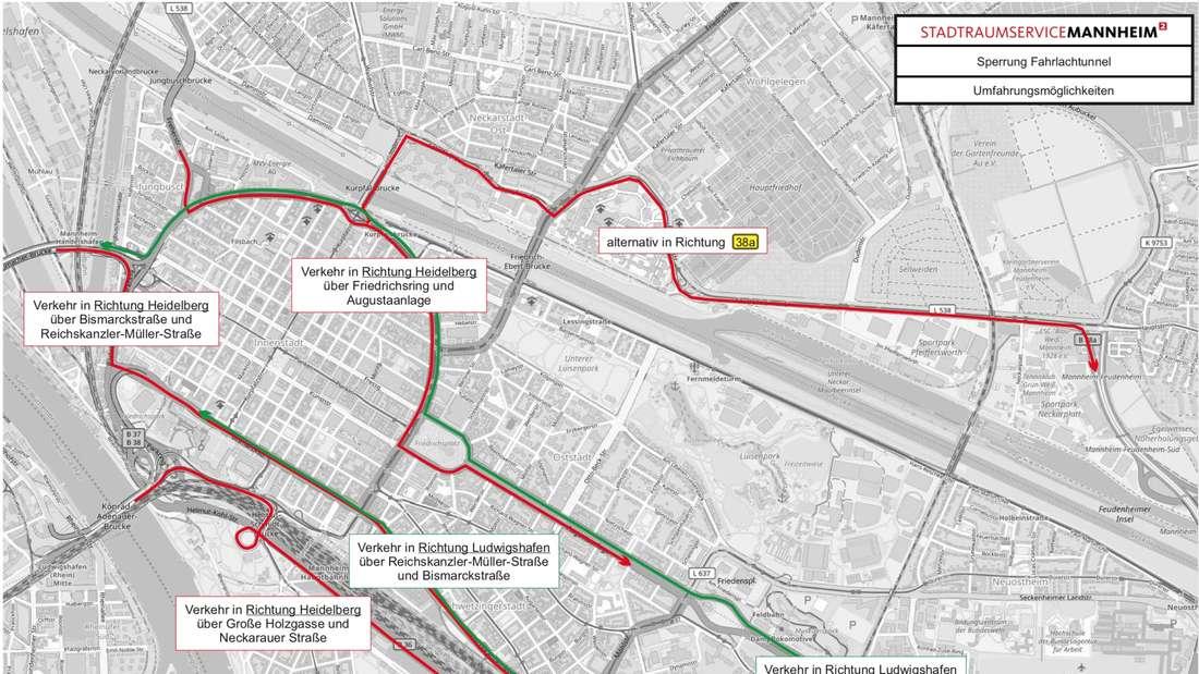 Die Umfahrungsmöglichkeiten des gesperrten Fahrlachtunnels in Mannheim
