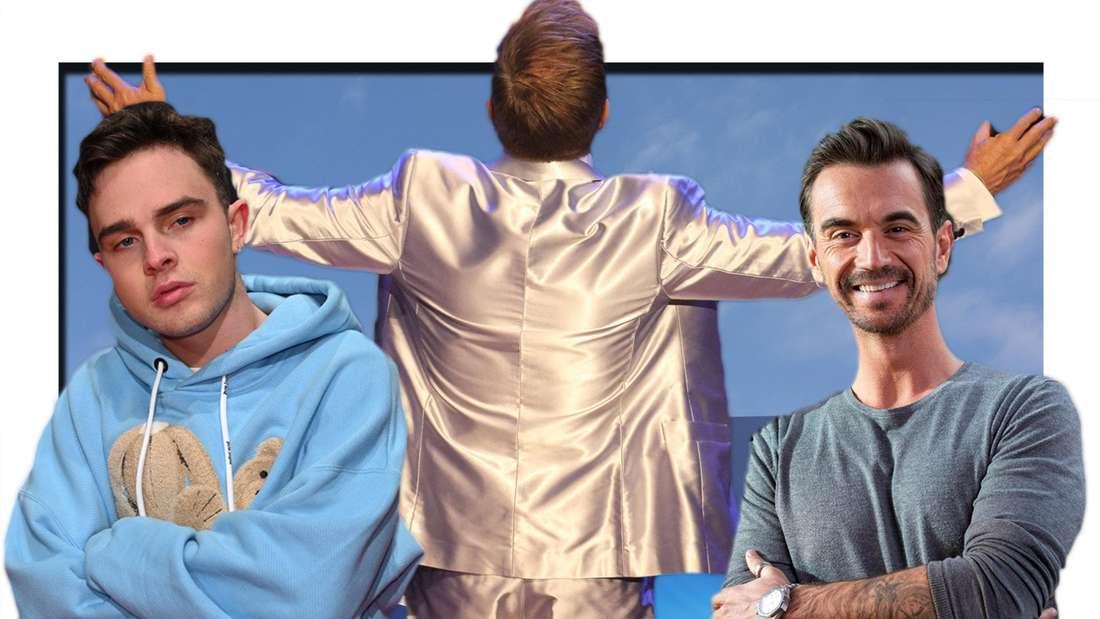 Fotomontage: Mike Singer, Dieter Bohlen und Florian Silbereisen vor dem DSDS-Logo