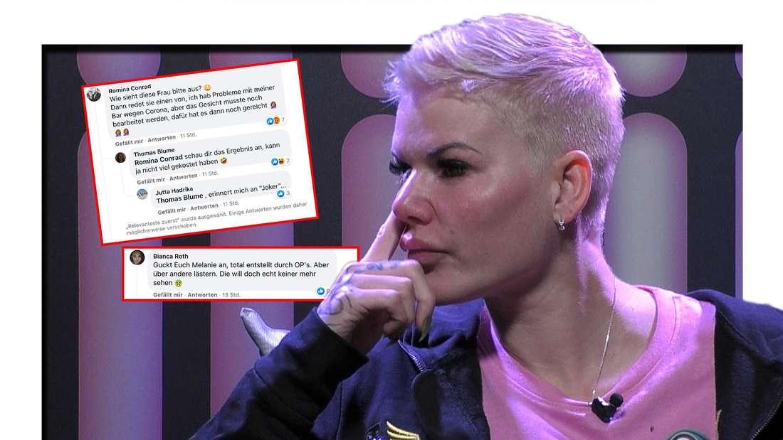 """Melanie Müller muss nach ihrer Beauty-OP von den """"Promi Big Brother""""-Zuschauern viel Kritik einstecken. (Fotomontage)"""