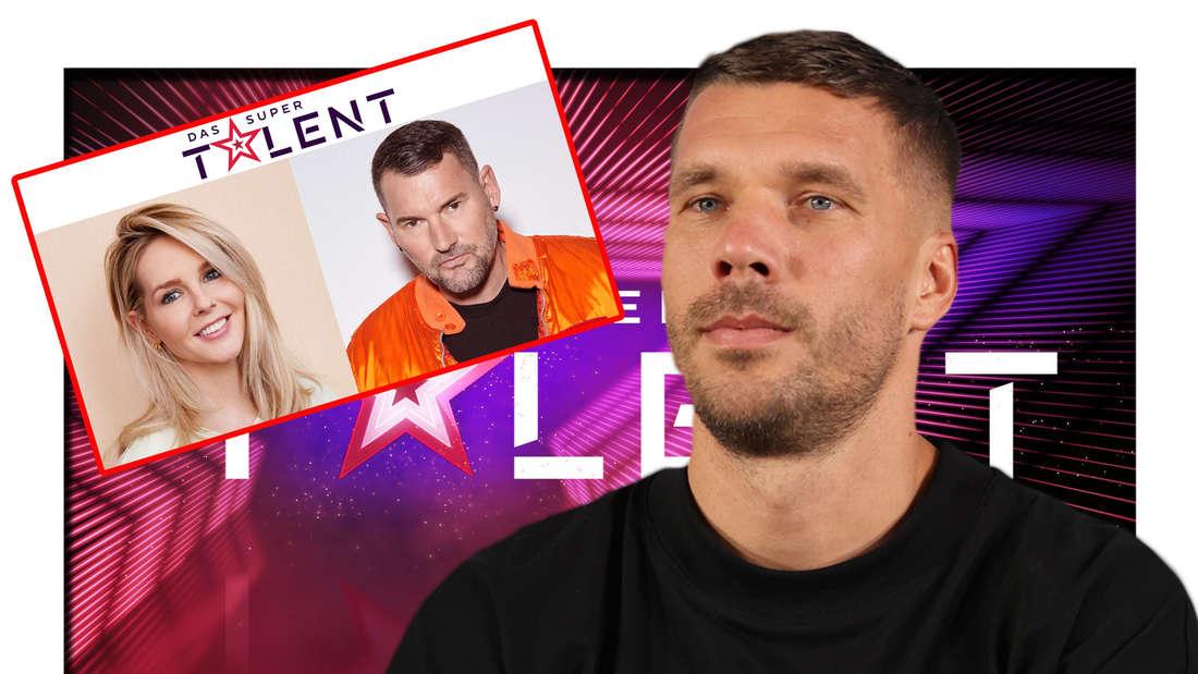"Fotomontage: Chantal Janzen, Michael Michalsky, Lukas Podolski vor dem ""Supertalent""-Logo"