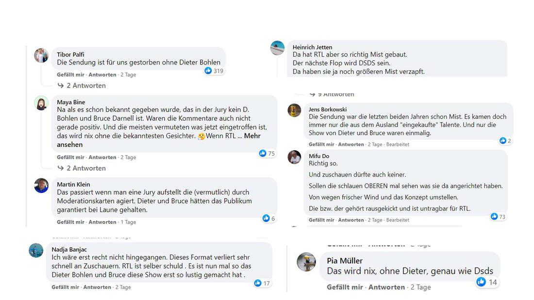Screenshots Facebook-Kommentaren