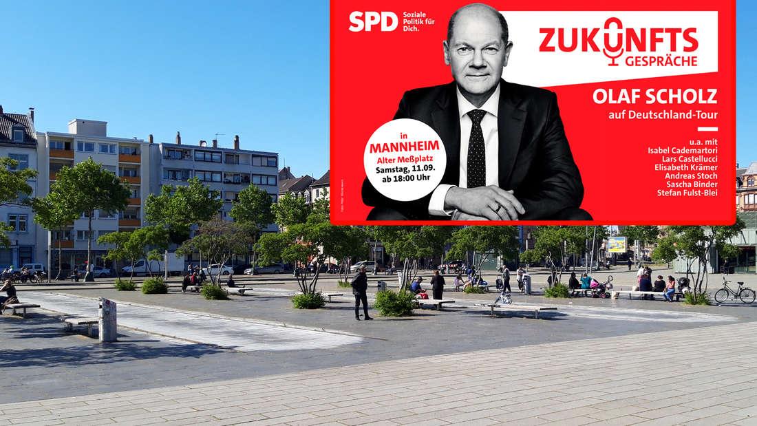 SPD-Kanzlerkandidat Olaf Scholz am 11. September auf Wahlkampftour in Mannheim (Fotomontage).