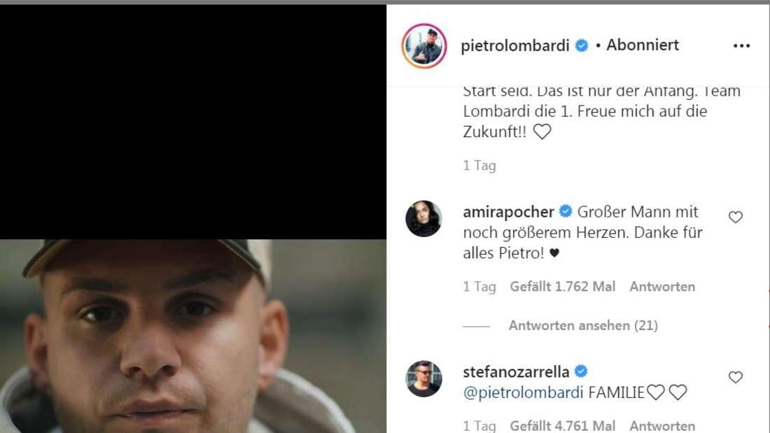 Amria Pocher kommentierte das Video von Pietro Lombardi bei Instagram.